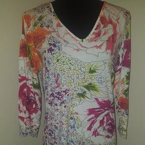 Chicos long sleeve floral T shirt.